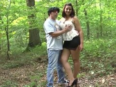 Rebecca analfucked in a forest