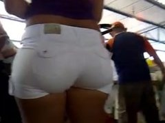 big ass candid in white shorts in the market