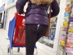 Cum on butt mature in public