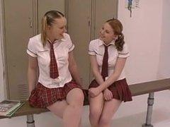 Schoolgirl Lesbians 69 in Locker Room