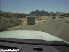 Porta Gloryhole girl swallows cum under a bridge
