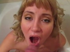 Piss drinking - Obedient blonde girl drinks piss