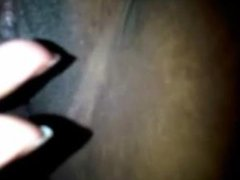 Ebony mama rubbing her horny vagina - closeup