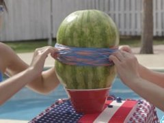 camsoda teens with big ass and big tits make a watermelon explode with rubb