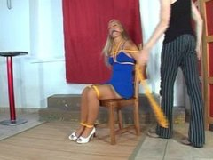 Blonde Dani chairtied & ballgagged
