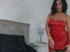raven haired milf in hot leather skirt teases