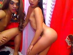 Tiny Tits Shemales Striptease and Masturbate on Cam