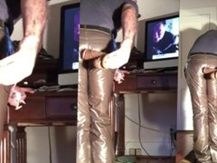 Dildo sucker masturbating in a pair of shiny tight brown leather pants