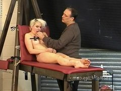 Kinky blondes foot fetish and spanking of crying slave girl