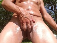 Oiled up cock outside