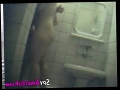 Spy cam films oral sex in the bathroom