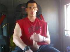 Hot guy masturbate inside a truck
