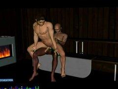Hentai gay hunk bareback fucked in sauna room