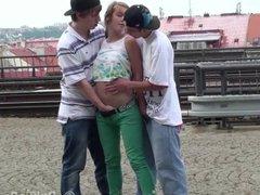 teen girl Alexis Crystal PUBLIC sex threesome orgy