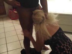 Blonde MILF giving head to a BBC