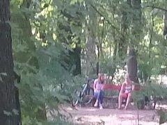 Masturbating to two girls in public park