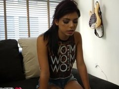 Gina Valentina sucks her brothers cock