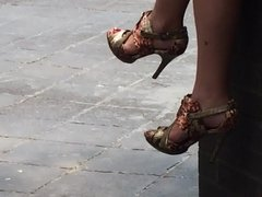 Business woman's legs and heels