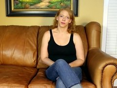 Mom on casting couch masturbates then gives a blowjob