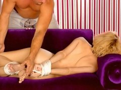 Blonde woman tied up and gagged with rope - Whats her name?