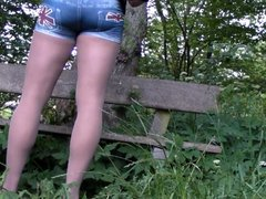 Wanking in Pantyhose in the woods Nylon cum