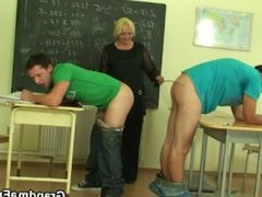 Very old teacher gets pounded by two studs
