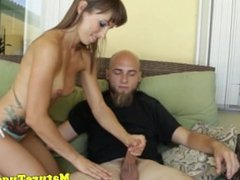 Tanlined milf jerking after showing bigtits