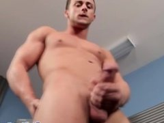 Jerking muscle cums after tugging on cock solo