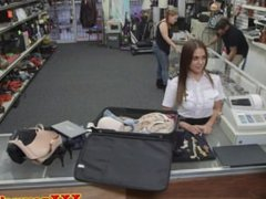 Uniformed latina pussyrailed for cash