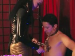 Leather mistress dominating cbt sub