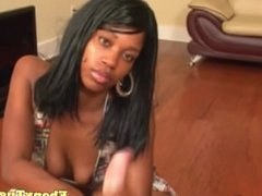Amateur tugging ebony with big pierced tits