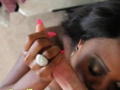 Funny tugging ebony chicks first white cock