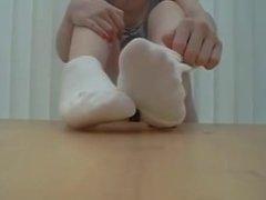 Extremely pretty woman white socks tease POV