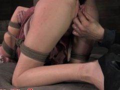 Bonded blonde slut handling butt plug fuck