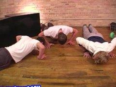 Gay group sex with four jocks cumming