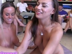 Teen lesbians in group using dildo