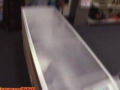 Pawnshop amateur takes tits out for cash deal