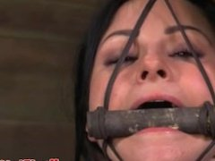 Mouth gagged skank handling toys