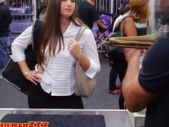 Pawnshop amateur babe in the store