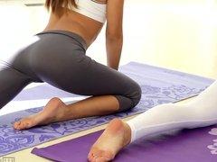 Alina Li and Adriana Chechik Naked Yoga