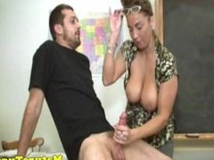 Mature busty teacher tugs for cumshot afterclass