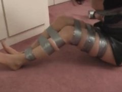 Bondage duct tape gagged girl