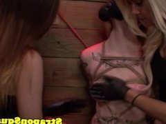 Bound strapon slut dominated in trio by mistress
