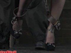 Nasty BDSM sub restrained in stocks