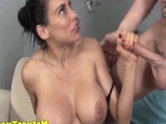 Mature latina tugging on dick for this lucky guy