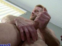 Gay hunk with a cock ring masturbating