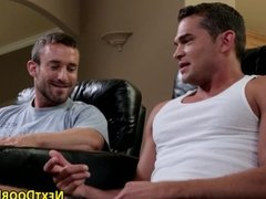 Muscled gay face spunked