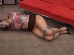 Duct taped and gagged girl by man