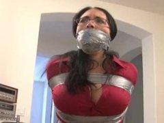 Female duct tape bondage gag