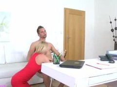 Horny guy performs a casting porn in which he licks wet pussy